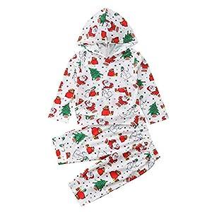 Proumy ◕ˇ∀ˇ◕Baby Kapuzenpullover Neugeboren Babykleidung Baby Junge Mädchen Weihnachtsmann Drucken Hoodie Sets Lange Hülse Tops +Hose 2PC Outfits