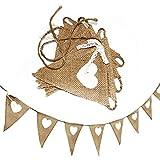 2.4M Wimpelkette Girlande Hochzeit Vintag Jute Bunting Banner Herz