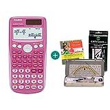 Casio FX 85 GT Plus Pink + Geometrie-Set + Lern-CD (auf Deutsch)