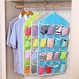 #10: 16 Pockets Clear Over Door Hanging Bag Shoe Rack Hanger Underwear Bra Socks Closet Storage Organizer (Blue)