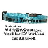 Creative Things (by Anja Betz) Halsband türkis mit Wunschtext z.B. mit Name, Tel, Adresse. Größe: XS Hundehalsband Welpenhalsband