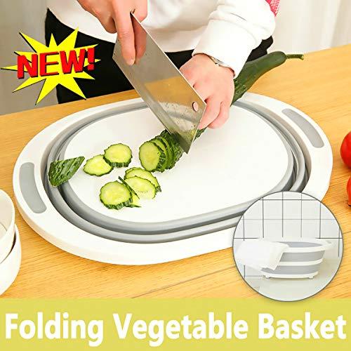SimpleShow Cutting Board Plastic Multi-Function Chopping Board Folding Cutting Board Kitchen Anti-Mold Sticking Board Cutting Vegetables Fruit Sink Drain Basket