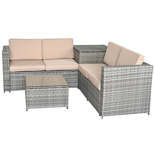 Jalano Poly Rattan Lounge Set Gartenmöbel Gartengarnitur 4 teilig grau