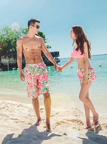 MissFox Bermuda da Bagno da Uomo, Sciolto/ Asciugatura Rapida Boxer da mare, Stampa di Fiore Floreale
