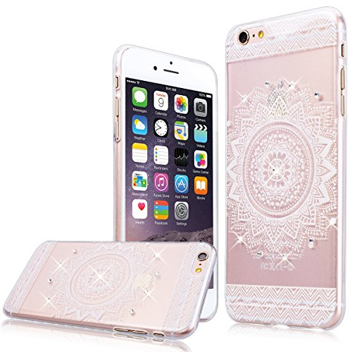 "WE LOVE CASE iPhone 6 Plus / 6s Plus 5,5"" Hülle Weich Silikon iPhone 6 Plus 6s Plus 5,5"" Schutzhülle Handyhülle Im Durchsichtig Transparent Crystal Clear Diamant Glitzer Funkeln Blume Muster Handytasc Mandala"