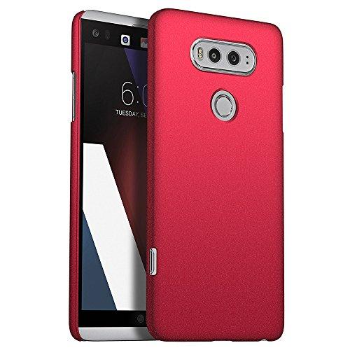 for LG V20 Hülle, ZUERCONG [Sand Serie] Ultra Dünn Slim Cover Case Anti-Fingerabdrücke Anti-Scratch Shockproof Handytasche Hartplastik Schutzhülle für LG V20, Kies Rot