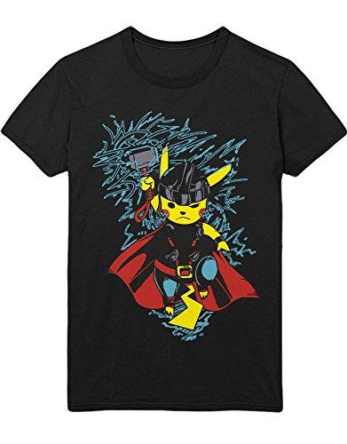 T-Shirt Poke Go Pika Superheroes Cross Over C210019 Schwarz L