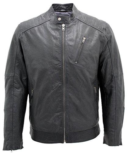 Herren Entwerfer Schwarz Bikerjacke aus Leder 2XL