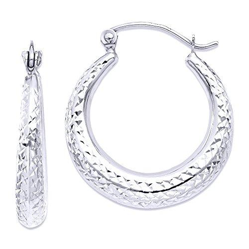 14K White Gold Diamant Schnitt Hohl Hoop Ohrringe