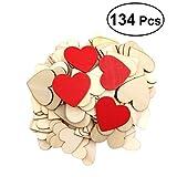 VORCOOL 134 Stück Herz Holz Scheiben Enthalten 40mm (100 Stück) 60mm (30 Stück) und 60mm Rote Scheiben (4 Stück) für Hochzeit DIY Handwerk Verzierungen Naturholzscheiben