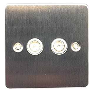 Acel Twin TV/FM Coaxial Socket Outlet Flat Plate Stainless Steel