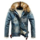 Chenang Herren Herbst und Winter Plus Samt Denim Jacke schwarz Jeansjacke Herren Winter Denim Jacket Gefütterte Jeans Jacke mit Fell Mantel Warme Winterjacke (Blau B, Small)