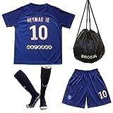 Brosin Maillot de Football, 2020 Paris Saint Germain PSG Numéro 10 Neymar Jr # 7 MBAPPE # 9 Cavani Combinaison Vêtement De Sport pour Garçon, Convient Et Aux Enfants T-Shirt+Short+Chaussette