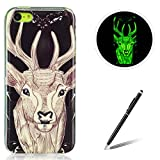 Feeltech for Apple iPhone 5C TPU Case Coque Housse Luminous Noctilucent Green Glow Soft Rubber Bumper Protective Cover Skin Shell Stylish Unique Colourful Pattern Sika Deer