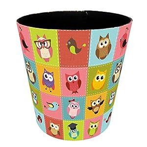 FBBM Mülleimer Kinderzimmer, 10L PU Leder Tier Dekorativ Papierkorb Kinder für Mädchen Jungen Wohnzimmer Schlafzimmer Kinderzimmer (Tiermuster),1,XL(26 * 26 * 26)