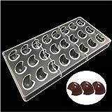 Ecosway 3D-Pralinenform mit 24mondförmigen Gusslöchern, aus durchsichtigem Polycarbonat, Backzubehör zur Herstellung von Schokolade, Pralinen, Gelee, Süßigkeiten