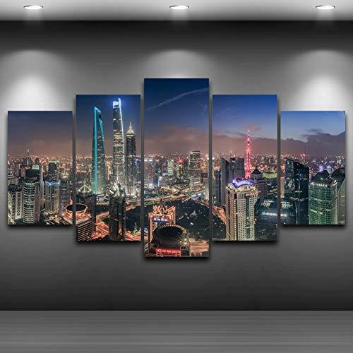 GIAOGE Gemälde Leinwand Poster Wandkunst Wohnkultur Für Wohnzimmer Rahmen 5 Stücke Shanghai Tower City Gebäude Malerei HD Print Modulare Bilder,20x35 20x45 20x55cm,No Frame