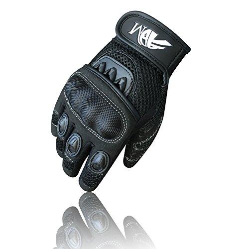 Prime Ganzer Finger Motorrad Sport Reiten Mountainbike Schutz Sommer Handschuhe 9001 - Schwarz, Small - 4