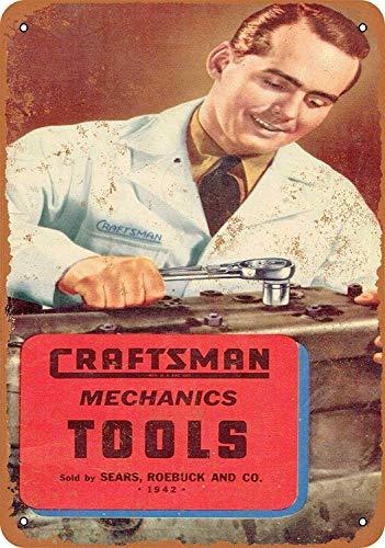 HiSign Sears Craftsman Mechanics Tools Vintage Blechschild Antike Metall gemälde Retro Wandschild Teller Poster Kaffee-Dekoration für Zuhause Club Bar Café Hotel - Sears Antik