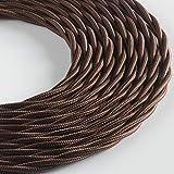 Klartext - Cavo tessile trecciato BELLE ÉPOQUE per installazione elettrica vintage, 3X1mm, Marrone, 3mt.