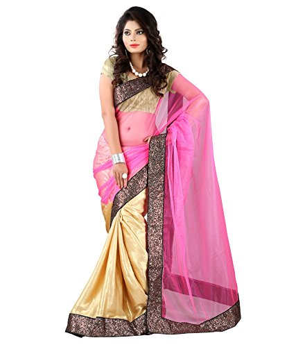 Yuvati Sarees Border Work Saree (9212_Pink)