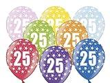 6 Luftballons 30 cm zum 25. Geburtstag - Zufällig gemischt aus 8 Farben - Kleenes Traumhandel®