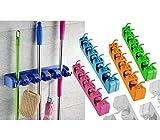 Soporte de pared para escobas y utensilios capacidad para 11 accesorios (Naranja)