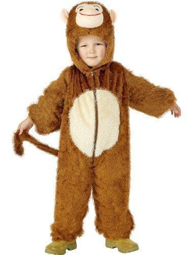Affe Kostüm Dschungelbuch - Mädchen Jungen Kinder Affe Overall Einheitsgröße Animal Dschungelbuch Tag Halloween Kostüm Verkleiden Outfit - Braun, 7-9 Years