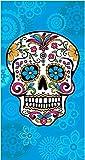 The Best Fashion House Toalla de playa diseño calavera mexicana 100% algodon (3 colores y 2 tamaños) (Celeste, 95 x 175 cm)