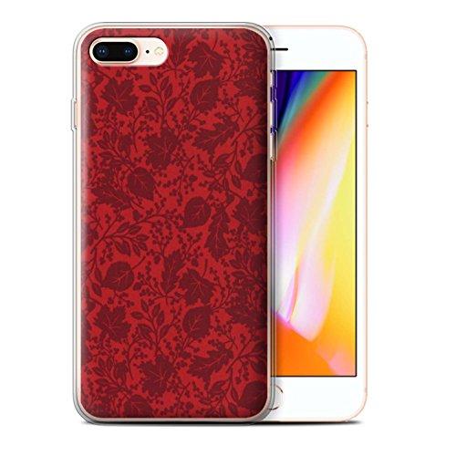 Stuff4 Gel TPU Hülle / Case für Apple iPhone 8 Plus / Orange Muster / Blatt/Silhouette Muster Kollektion Rot
