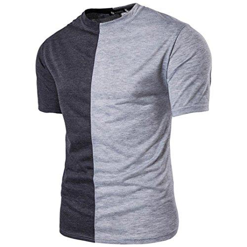 OverDose T-Shirt Da Uomo Casuale Personalità Colori Misti Girocollo Manica Corta Maglietta Grigio
