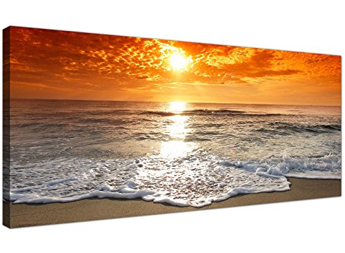 Cheap Canvas Pictures of a Tropical Beach Sunset for your Bedroom - Panoramic Seaside Wall Art - 1152 - WallfillersÃ'® by Wallfillers