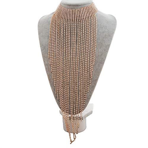 Hksfnsj Lange Halskette für Frauen Frauen Halskette Retro mehrschichtige Strass hängende Halskette Kette kostüm schmuck Halskette (Farbe : Gold, Größe : Free ()