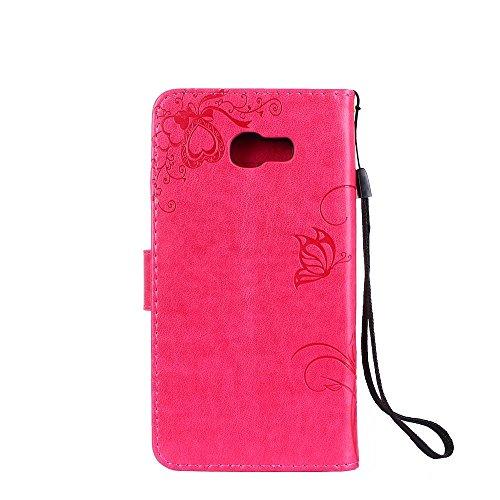 Horizontale Bookstyle Flip Case Premium PU Ledertasche, geprägte Blumen Blumen Schutzhülle Tasche Tasche mit Lanyard & Stand für Samsung Galaxy A5 (2017) ( Color : Blue ) Red