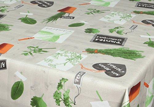 ecosoul Wachstuchtischdecke Basilic Kräuter Pflanzen grün orange grau Breite 140 cm Länge wählbar Meterware glatt abwaschbar (Stoff Picknick-tischdecke)