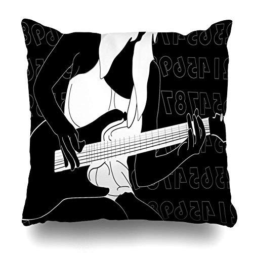 akingstore Ensemble de 4 Throw Pillow Cover Square 18 x 18 Pouces Blanc moitié Fille Nue Jouant de la Guitare Jeune Noir Dessin Mignon dessiné Housse de Coussin Home Decor taie d'oreiller