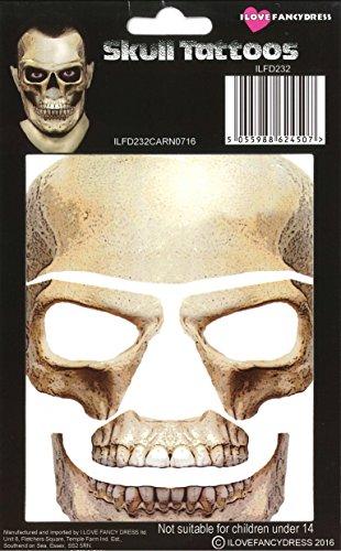 (ILOVEFANCYDRESS ENTFERNBARE/AUFKLEBBARE Gesichts Oder KÖRPER Tattoos Skelett Knochen Tattoo)
