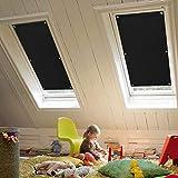 KINLO Dachfensterrollo 48 x 93cm Schwarz Thermo Sonnenschutz Verdunkelungsrollo...