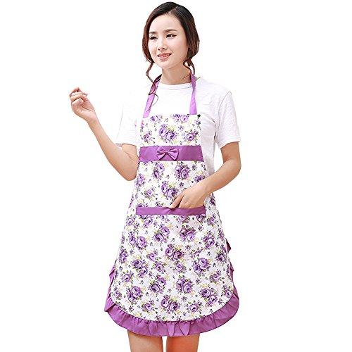 aihometm Wasserdicht Kithchen Kochen Schürze mit Blumenmuster bowknot Taschen für Frauen Lady Schutz Kleid ()