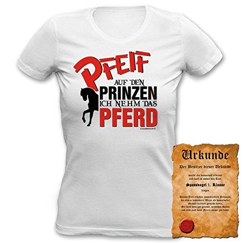 Fun T-Shirt 4 Girls ::: Pfeif auf den Prinz ::: Damen Top mit Urkunde Weiß
