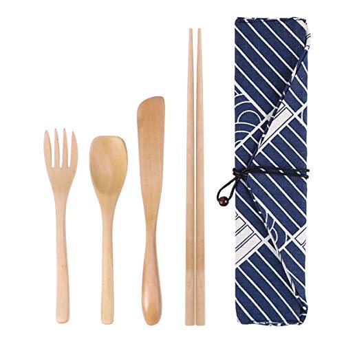 BESTONZON Bambus Besteck Set,Wiederverwendbarer Bambus Utensilien Reise Besteck Set mit Lagerung Tuch Tasche, Gabeln Messer Essstäbchen Löffel Camping Besteck Set (4 Stücke) -