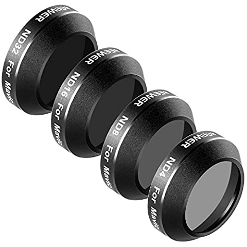 Neewer 4 Pieces Filter Kit for DJI Mavic Pro Drone Quadcopter Includes: ND4, ND8, ND16 and ND32 Filter, Made of Multi Coated Waterproof Aluminum Alloy Frame Optical Glass (MC-16)