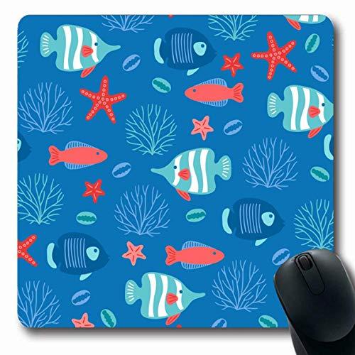 Luancrop Mauspads für Computer Aqua Blue Ocean Unterwasserfische Seetangfische Rotes Aquarium Tauchen Zeichnung Gezeichneter Sommer rutschfeste, längliche Gaming-Mausunterlage -