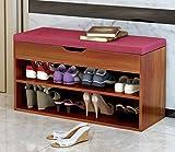 LI JING SHOP - Sgabello da appoggio, scaffale in legno massello Scarpa per scarpe, scarpa Shoebox Indossare uno sgabello scarpa, Colore: Nero / superficie rossa / quadrato / gesso, Dimensione: 80 * 30 * 45CM ( Colore : Rosso , dimensioni : 80*30*45CM )