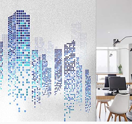 libby-nice Größe 45 * 200Cmblue Städtisches Gebäude Muster Elektrostatische Mattglas Film Büro Hause Schiebetür Privatsphäre Sonnenschutz PVC Fenster Film