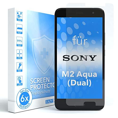 EAZY CASE 6X Bildschirmschutzfolie für Sony Xperia M2 Aqua (Dual), nur 0,05 mm dick I Bildschirmschutz, Schutzfolie, Bildschirmfolie, Transparent/Kristallklar