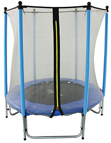 GSD Kindertrampolin Blau 15797 mit Longpole-Netzstangen und 1,40 m Ø für absoluten Indoorspaß