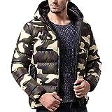 Riou Herren Kapuzenjacke Steppjacke Männer Winter Warm Camouflage Slim Zipper Hoodied Schneeflocke mit Kapuze Daunenjacke Übergangsjacke (2XL, Grün)
