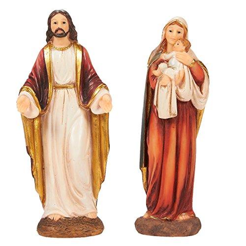 Juvale Figur Jungfrau Maria und Jesus Christus - katholische, religiöse Harz-Statuen für Weihnachtskrippe, Heimdekoration, christliche Anbetung