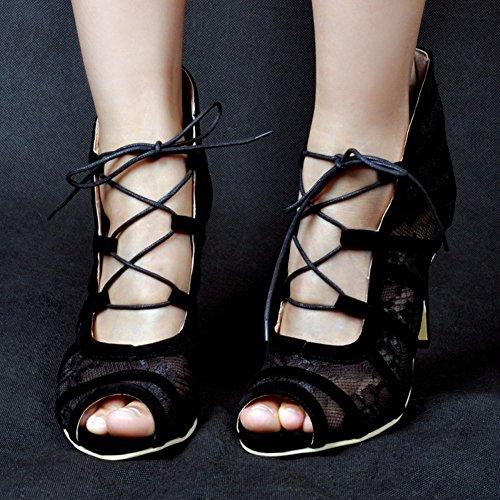 Kolnoo Damen Faschion 11cm Fzamaei Querlace-up Bügel-hohe Absätze beiläufige Sandelholz Blick Zehe Abschlussball Schuhe Black